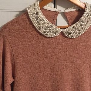 Tops - Mauve Pearl Collar Top